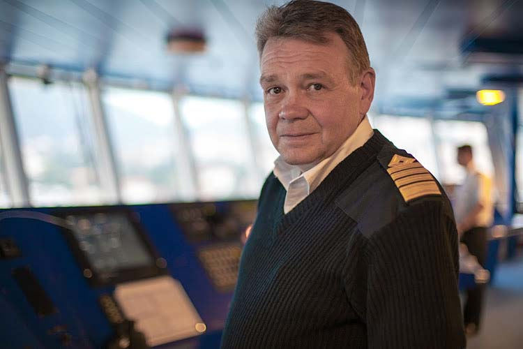 Captain Atle Hahon Knutsen on the bridge of Viking Star.