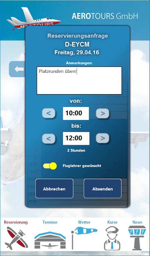 AEROTOURS App – Screenshot