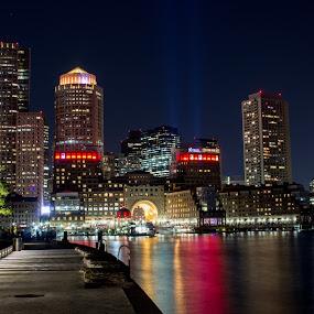 Boston FC Skyline by Harish Kumar K - Buildings & Architecture Office Buildings & Hotels ( boston, beautiful, canvas, wallpaper, longexposure, buildings, nightscape, skyline, architecture, night photography )