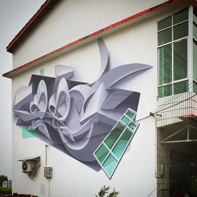 Formas abstractas y geométricas saltan de la pared en murales tridimensionales