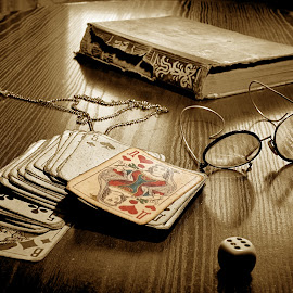 Still life with gambling cards by Zenonas Meškauskas - Artistic Objects Antiques ( old, glasses, watch, book, cards )