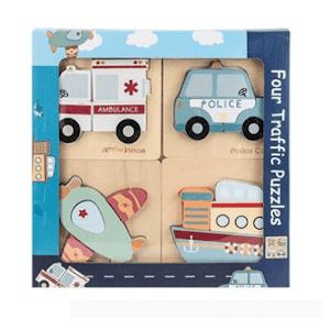 Set 4 puzzle din lemn cu vehicule 3D, jucarii educative