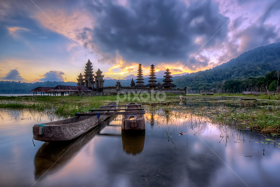 the Temples - Bali's Landmarks by Bigg Shangkhala - Travel Locations Landmarks ( moutain, temple, bali, hill, pwclandmarks, lake, boat )