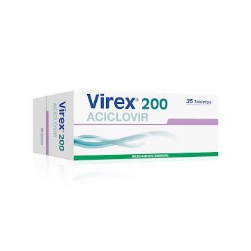 Virex 200Mg Tabletas   Caja x35Tab. Aciclovir