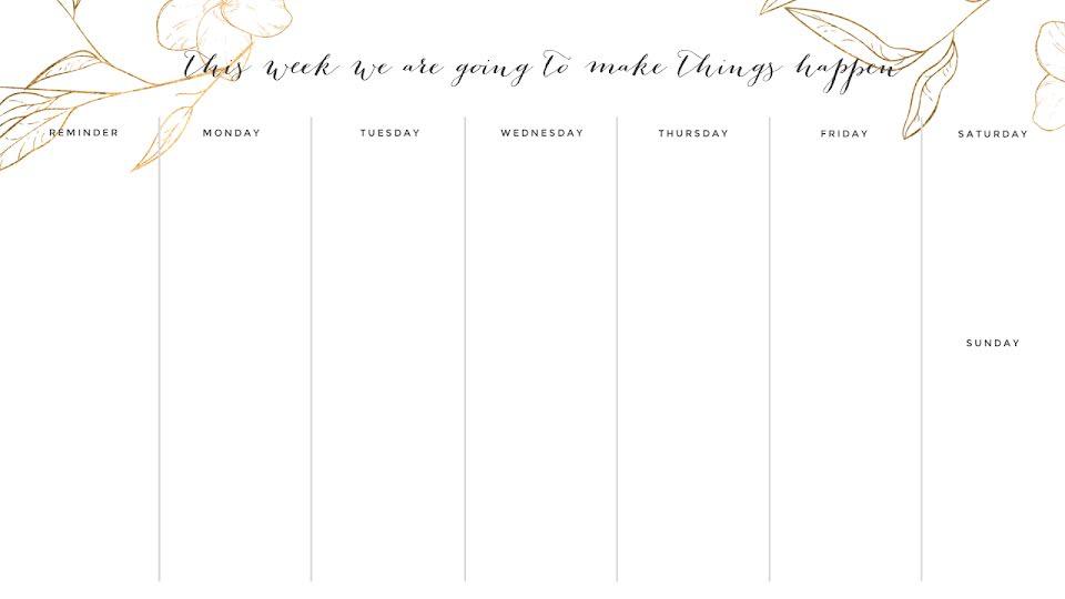Elegant Weekly - Calendar Template