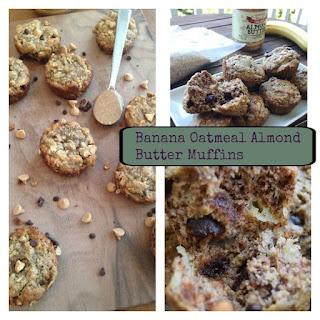 Banana Oatmeal Almond Butter Muffins