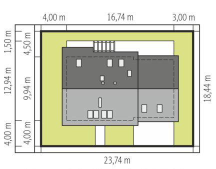 Mini 8 G1 - Sytuacja - wersja domu z garażem dwustanowiskowym
