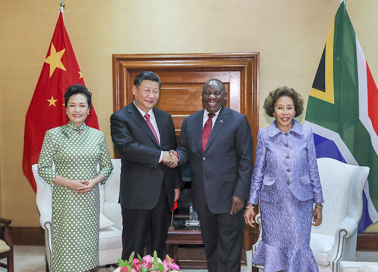 President Xi Jinping and his wife Mme Peng Liyuan with President Cyril Ramaphosa and his wife Mme Tshepo Motsepe on July 24 2018. Picture: SUPPLIED