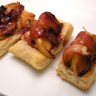 Sweet Apple and Bacon Puffs With Pomegranate Glaze.