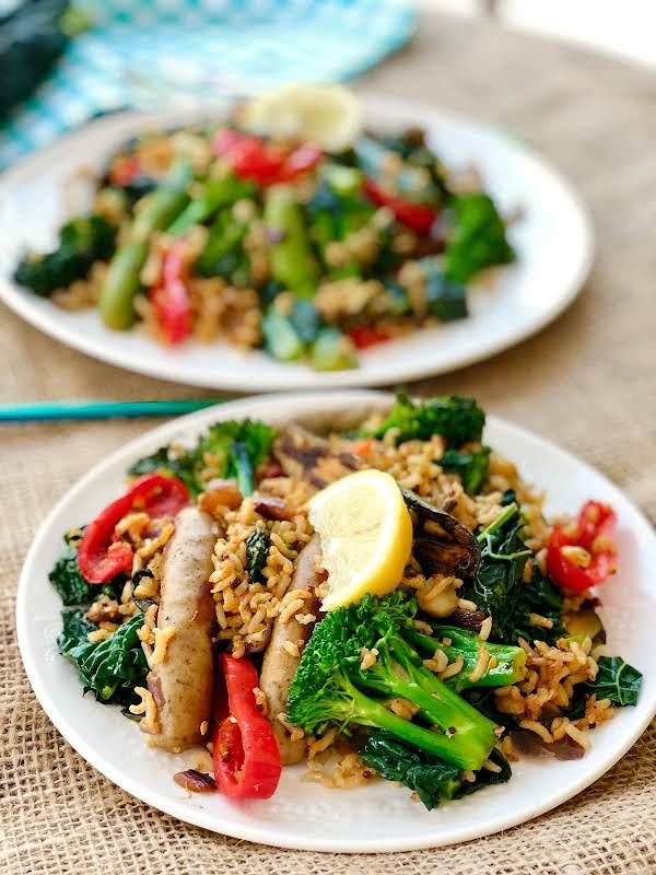 This One Pan Recipe Is A Delicious Meal, It Contains Sausages, Cavolo Nero And A Deliciously Curried Wild Rice And Quinoa. Really Delicious
