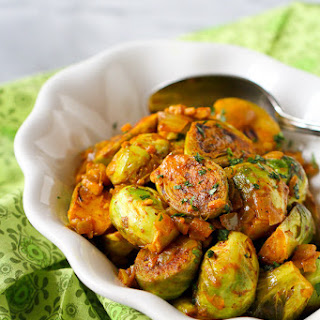 Curry Simmered Brussels Sprouts.