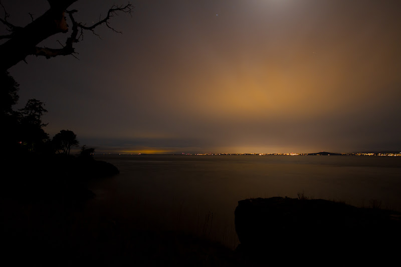 Photo: G+ Project52 - Week 14 - Night  I was up on San Juan Island this past weekend visiting friends. They have a lovely view off the west side of the island towards Victoria, BC. Here's what it looks like at night... This isn't sunset, it's just the city's lights lighting up the sky over the calm Haro Straight.  #2012project52 +Project52-2012 +GPLUS::P52::2012 curated by +Giuseppe Basile and +Kate Church   #2012project52 +Project52-2012 +GPLUS::P52::2012 curated by +Giuseppe Basile and +Kate Church