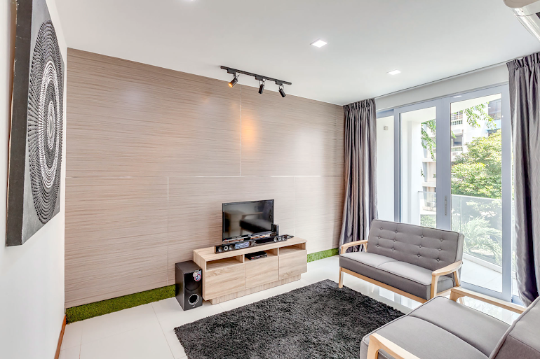 Bright living area at Sims Avenue Serviced Residence, Orchard Road