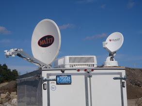 Photo: MotoSat XF3 1.2 meter dish for IP based communications with companion DirecTv dish
