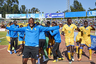 Photo: Rwanda celebrate having beaten Sudan to move on to the CECAFA 2015 finals.[Rwanda vs Sudan, CECAFA 2015, Semi final, 3 Dec 2015 in Addis Ababa, Ethiopia.  Photo © Darren McKinstry 2015, www.XtraTimeSports.net]