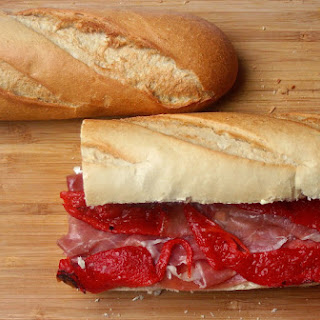 Brie, Prosciutto and Roasted Red Bell Pepper Baguette.
