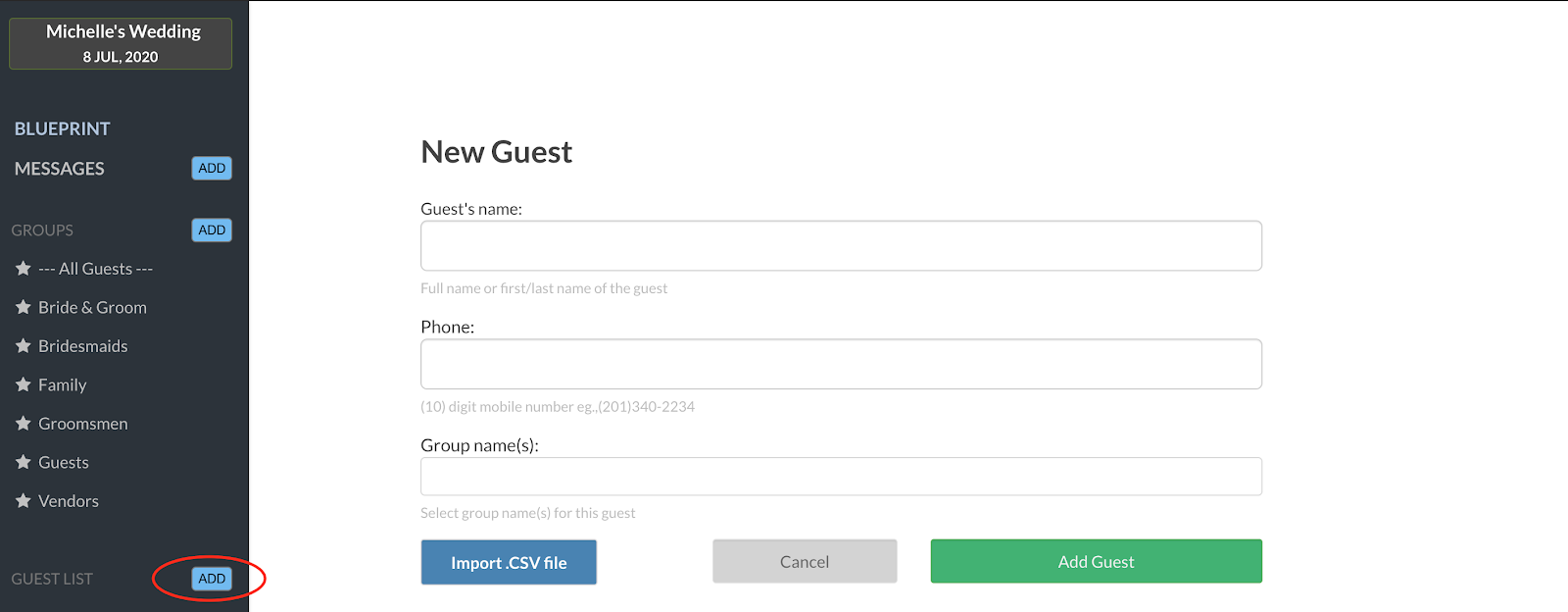 WedText Guest List Upload