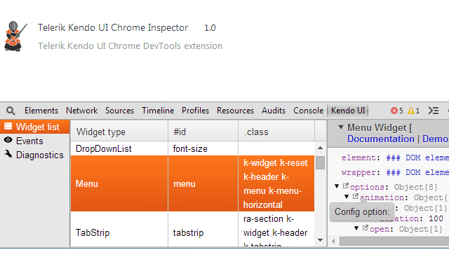 Telerik Kendo UI Chrome Inspector