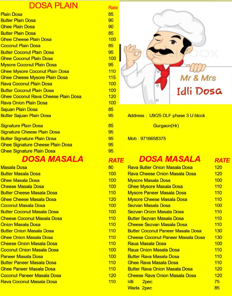 Mr & Mrs Idly Dosa menu 1