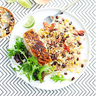 Cajun Fish With Black Beans And Cauliflower 'rice'.