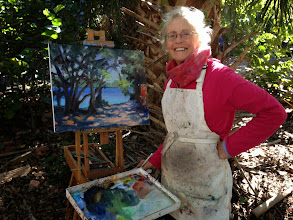 Photo: Elfrida with her painting at Gumbo Limbo