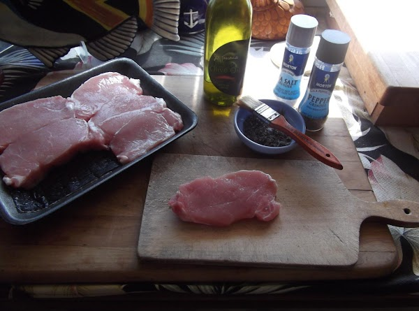 Strip thyme leaves from stems and chop fine.  Blend with salt and pepper,...