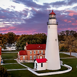 Lighthouse at Dawn by Pat Eisenberger - Buildings & Architecture Public & Historical ( dawn, lighthouse, fort gratiot lighthouse )
