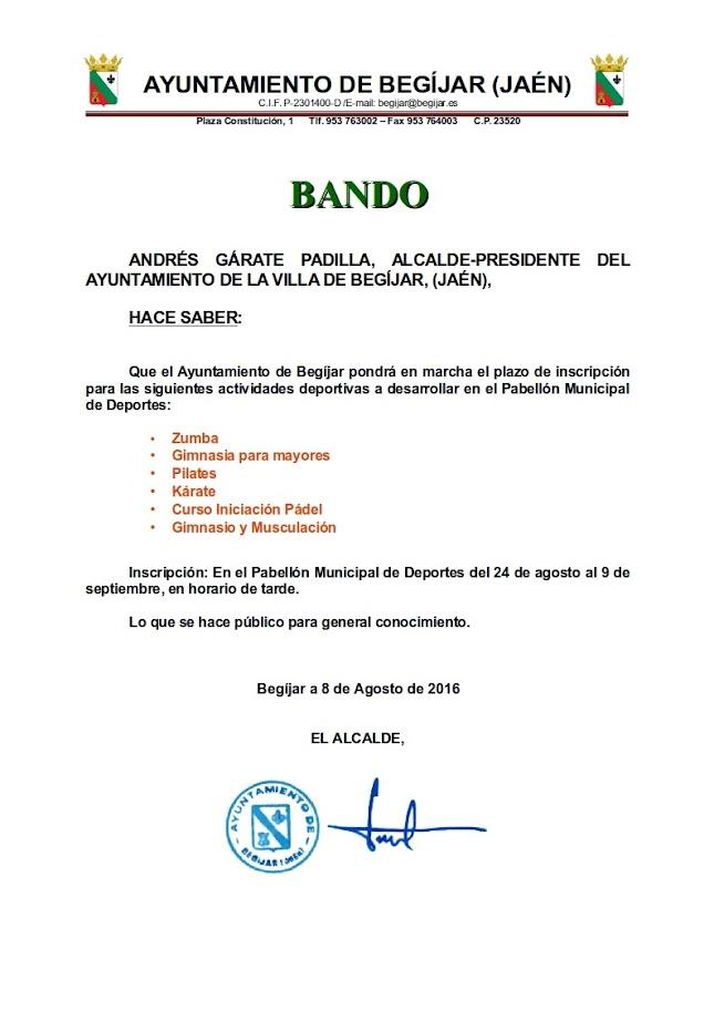 Bando Actividades Deportivas