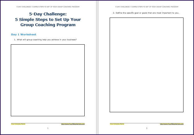 Create Your Group Coaching Program - Challenge Worksheet 1