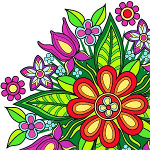 Diseños mandala de flores para que todos puedan disfrutar y relajarse. Es posible pintar áreas, trazando líneas y usando sellos.