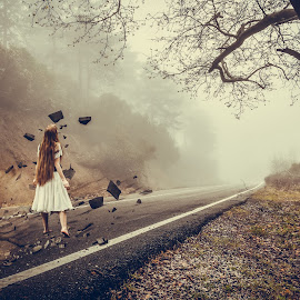 by Marianna Sklia - Digital Art Places ( foggy, girl, mountain, fog, forest, cracked, road, walk,  )