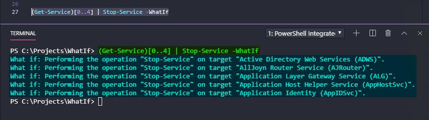 PS51> (Get-Service)[0..4] | Stop-Service -WhatIf
