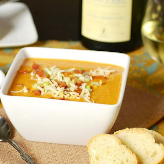 Chipotle-Rosemary Sweet Potato Soup with Bacon.