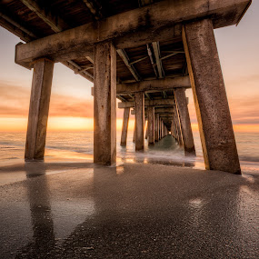 The Golden Gate by Jessica Meckmann - Landscapes Waterscapes ( water, sand, naples, hdr, florida, sunset, waves, pier, beach )
