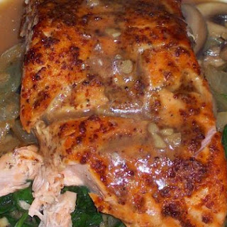 Asian Honey Mustard Salmon On Spinach and Mushrooms