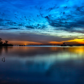 To the colorful Dusk,, by Asmar Hussain - Landscapes Waterscapes ( pakistan, sunset, colors, rawal lake, dusk, garyfonglandscapes, holiday photo contest, photocontest )