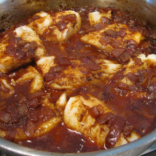 Ethiopian Spicy Fish Stew with Red Onions.