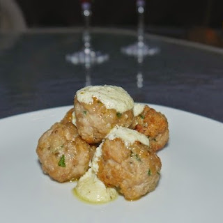 Mini Pork Meatballs With Feta Dipping Sauce.