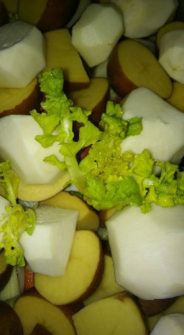 meat, carrots, onions, celery, potatoes, turnips and turnip greens.