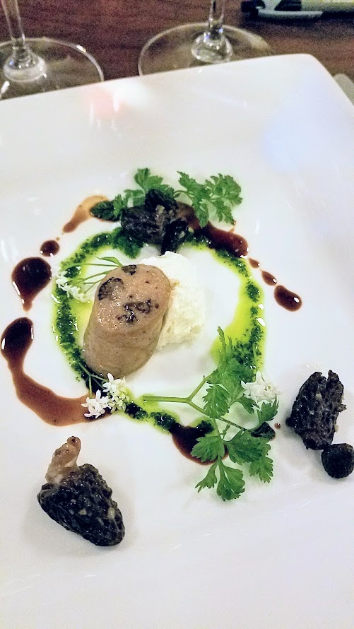Chefs Week PDX 2017 Heritage Dinner at Chesa on May 7, Greg Higgins (Higgins Restaurant) created a dish of Morel Boudin Blanc, Fresh Black Sheep Creamery Cheese Chervil Oil