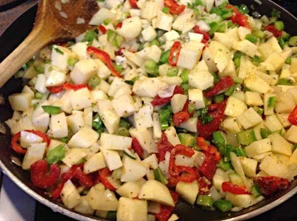 Heat olive, coconut or canola oil in a large skillet till hot. I used...