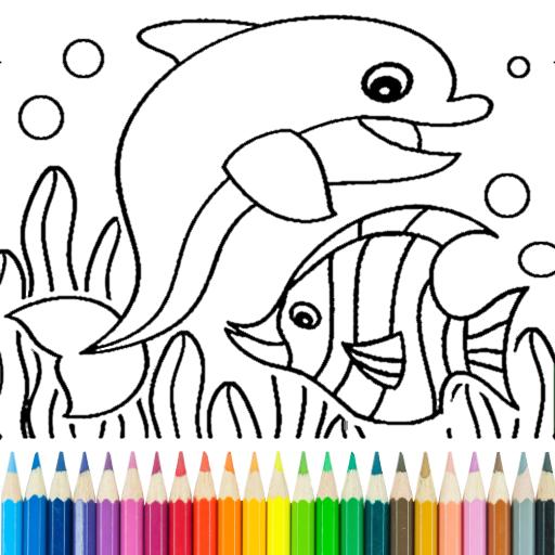 Dauphin et poisson livre de coloriage