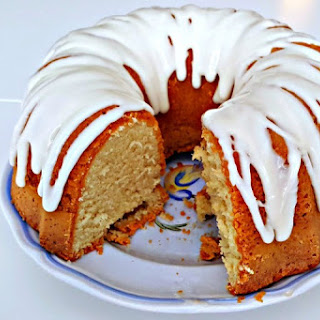 Old Fashioned Buttermilk Pound Cake with Sweet Cream Glaze.
