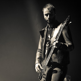 Muse bassist Christopher Wolstenholme by Toni Geib - Black & White Portraits & People ( rock n roll, music, black n white, black and white, muse, black & white, bassist, musician, techno rock, christopher wolstenholme )
