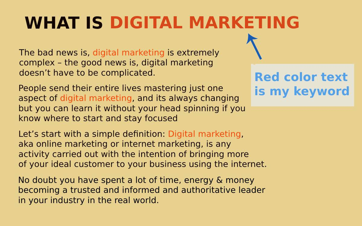 Digital marketing seo example of keywords in content.