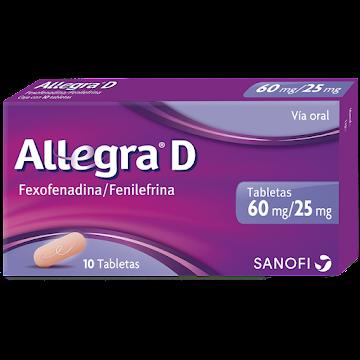 Allegra D 60/25Mg   Tabletas Caja X10Tab Sanofi Fexofenadina Fenilefrina