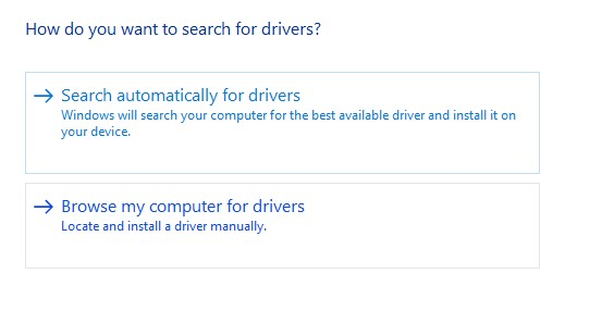 Select Automatically Search for Updated Driver Software