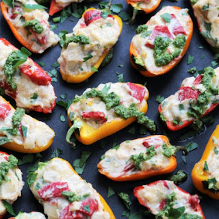 Creamy Chicken Stuffed Mini Peppers with Spinach Walnut Pesto.