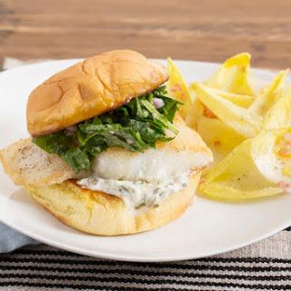 Cod Sandwiches with Caper Aioli & Endive Salad.