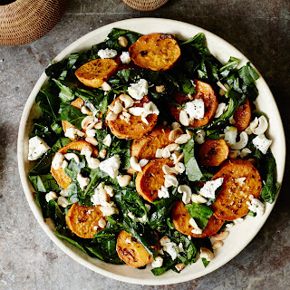 Shredded Collard Green Salad with Roasted Sweet Potatoes and Cashews